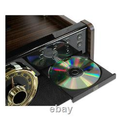 Victrola 7-in-1 Wood Empire Bluetooth Record Player with 3-Speed Turntable, CD