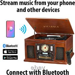 Victrola 8-In-1 Bluetooth Record Player Multimedia Center, Built-In Stereo Spe
