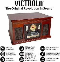 Victrola 8-in-1 Bluetooth Record Player & Multimedia Center, Built-in Speaker