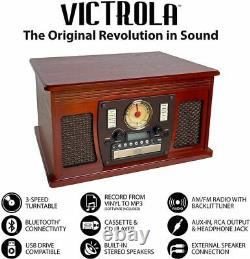 Victrola 8-in-1 Bluetooth Record Player & Multimedia Center, Built-in Ste. New