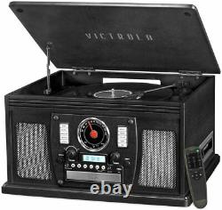 Victrola Black 8-In-1 Nostalgic Bluetooth Record Player with 3-Speed Turntable
