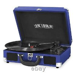 Victrola Bluetooth Suitcase Record Player with 3-speed Turntable Cobalt Blue
