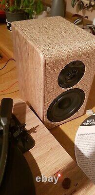 Victrola Hampton Record Player 3-Speed Turntable, Bluetooth, Speaker Wood & Linen