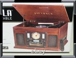 Victrola Mahogany 8-In-1 Bluetooth CD AM/FM Cassette USB Turntable Record Player