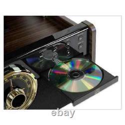 Victrola Mid Century Record Player 3-Speed Turntable 6-in-1 Wood Bluetooth Radio
