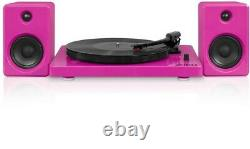Victrola Modern design 50 watt Record Player with Bluetooth and Turntable, Pink