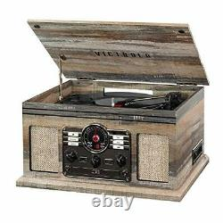 Victrola Nostalgic 6-in-1 Bluetooth Record Player (Farmhouse Shiplap Grey)
