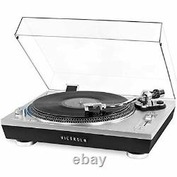 Victrola Pro Series USB Record Player 2-Speed Turntable and Dust Cover Silver