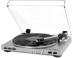 Victrola Pro USB Record Player with 2-Speed Turntable and Dust Cover, Silver
