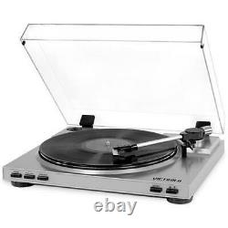 Victrola Pro USB Record Player with 2 Speed Turntable and Dust Cover Silver V