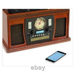 Victrola Record Player 8-in-1 AUX USB Recording CD Cassette FM Radio