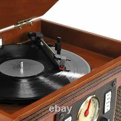 Victrola VTA-600B-MAH 8-in-1 Bluetooth Record Player & Multimedia Center, New