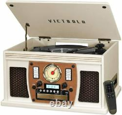 Victrola VTA-600B-WHT 8-in-1 Bluetooth Record Player Multimedia Center, White