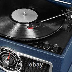 Victrola VTA-810B-BLU 4 in 1 Nostalgic Bluetooth Record Player Turntable, Blue