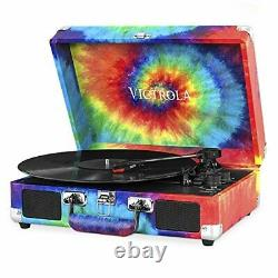 Victrola Vintage 3-Speed Bluetooth Portable Suitcase Record Player with Built-in