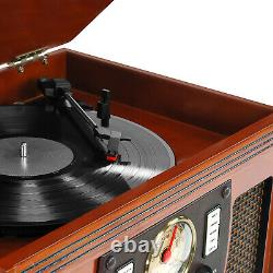 Victrola Wood 8-In-1 Nostalgic Bluetooth Record Player with 3-Speed Turntable