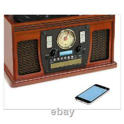 Victrola Wood 8-in-1 Bluetooth Record Player with USB Encoding -NEW