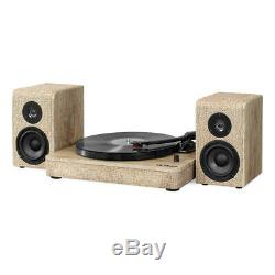 Victrola Wood and Linen Fabric Bluetooth Record Player with 3-speed Turntable