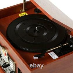 Vintage 6 In 1 Bluetooth Record Player 3 Speed Turntable CD Cassette FM Radio