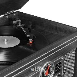 Vintage Record Player Speakers Mahogany Bluetooth Radio Classic CD Cassette