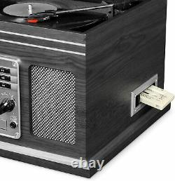 Vintage Record Player Speakers Mahogany Bluetooth Radio Classic CD Cassette NEW