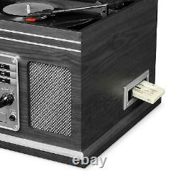 Vintage Record Player with Speakers Bluetooth Vinyl Turntable Radio CD Cassette