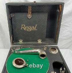 Vintage Regal -Wind Up Crank, Portable Record Player, Phonograph Victrola-READ