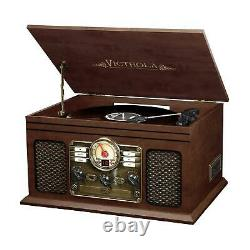 Vintage Retro Record Player 6-in-1 Stereo System Bluetooth CD Cassette FM Radio
