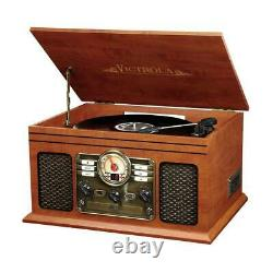 Vintage Retro Record Player 6-in-1 Stereo System Bluetooth FM Radio CD Cassette