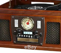 Vintage Style Victrola Vinyl Record Player Turntable withBluetooth, USB, Remote +