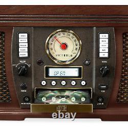 Vinyl Turntable Record Player CD Cassette AF/FM Radio Player Vintage Wireless BT