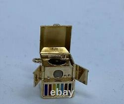 Walter Lampl 14K Gold & Enamel Victrola Record Player with Stanhope Viewer Charm