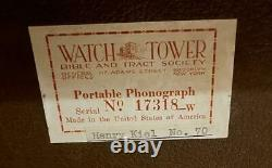 Watch Tower Wind Up Record Player Portable Phonograph Victrola WORKS GREAT