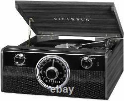 Wood Metropolitan Bluetooth Record Player W 3-speed Turntable & Radio